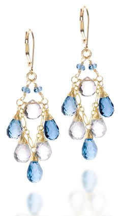 """Nothing but Blue Skies"" blue topaz and moonstone earrings.  50% off.  Use coupon code HAPPYSPRING2012 during checkout."