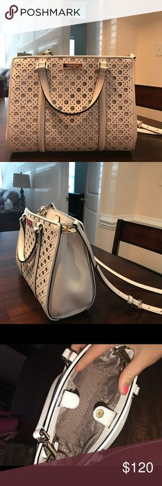 """PRICE IS FIRM Kate Spade ♠️ Kate Spade Newbury Lane Caning mini Romy in white. Measures 7.5"""" in height, 9.5"""" in length, and it had double handles and a longer removable strap. The interior has a zip pocket and two other multifunctional pockets. Has a little color from my one pair of jeggings but should come of with leather cleaner. Feel free to make offers and ask questions! kate spade Bags Crossbody Bags"""