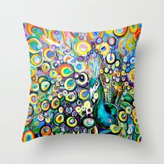 Peacock Throw Pillow by HillaryFrye - $20.00