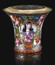A fine Qajar gold and polychrome enamelled ghalian cup, Persia, century Ancient Jewelry, Old Jewelry, Jewellery, Islamic World, Islamic Art, Qajar Dynasty, Famous Warriors, Persian Princess, Teheran