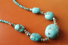 Turquoise Bead Necklace by BeadyEyedBird on Etsy, $100.00