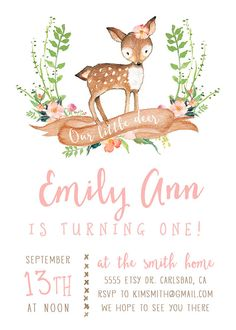 Deer Birthday Invitation Girl Woodland Boho by KirraReynaDesigns