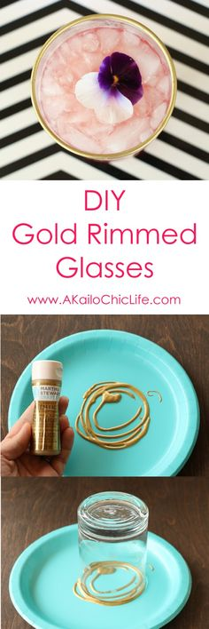 Learn how to make your own gold rimmed glasses using non toxic paint. Quick and easy craft project.