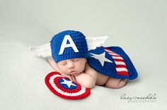 Newborn Captain America Inspired Hero by CrochetbyKimberlyMae