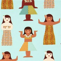 Hula girl fabric by Michael Miller!
