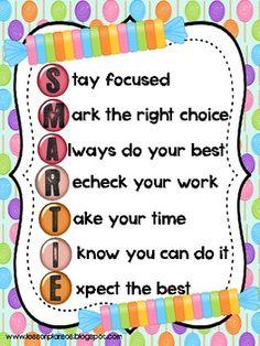 Smartie Acrostic Poem - motivation for students during testing week!