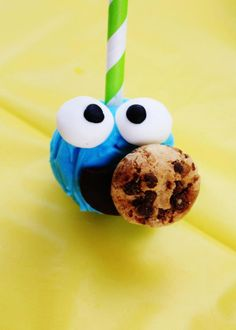 Cookie Monster cake pops for a Sesame Street Birthday Party