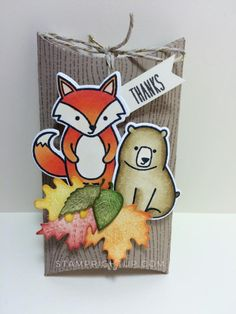 Lawn Fawn Pillow Box Die using Party Animal & Love You S'More stamp for Thanksgiving or coffee card thank you or hostess gift holder by Wendie Bee of Stamp Right Up