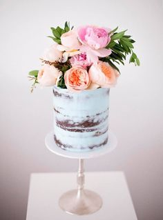pale blue naked wedding cake with fresh floral topper ~ we ❤ this! moncheribridals.com