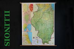 Vintage School Pull Down Map State Of Illinois Nystrom Wall