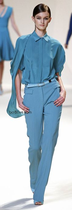 Gorgeous aqua blue pant suit for work. Elie Saab Spring Summer 2013 Ready to Wear. #officewear. via #thedailystyle.