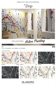 Drip // Pop Wallcovering | Action Painting Collections by Glamora Action Painting, Jackson Pollock, Paint Designs, Painting Techniques, Abstract Expressionism, Photo Wall, Collections, Pop, Interior Design