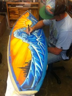 Drew Brophy painting The Great Wave of Kanagawa on Surfboard 2012