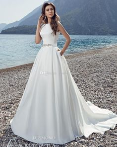 Beach Satin Wedding Dresses 2017 Ball Gown Lace Back With Button Covered Chaple Train Bridal Gowns Quinceanera Dresses White Dress From Gonewithwind, $201.01| Dhgate.Com