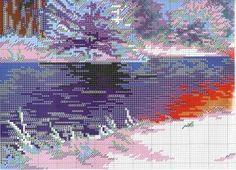 Winter River - 5 of 6 Cross Stitch Landscape, Cross Stitch Patterns, Christmas Stockings, Photo Wall, Create, Nature, Painting, Art, Stocking Ideas