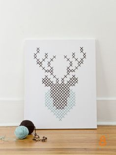 DIY Kit - Giant Cross-Stitch kit by Jessica Decker + Kollabora I like this idea, but I would use a different pattern. Likely something from Subversive Cross Stitch. Cross Stitching, Cross Stitch Embroidery, Cross Stitch Patterns, Diy Embroidery, Reno, Filet Crochet, Diy Kits, Needlework, Christmas Crafts
