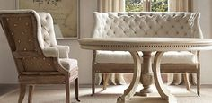 Fabric Seating | Restoration Hardware this is so beautiful!! I love the upholstery nails and the pinched fabric on the seating