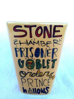 Simple Harry Potter Book Titles Mug - Medium, square mustard mug with glasses, lightning bolt, and owl.