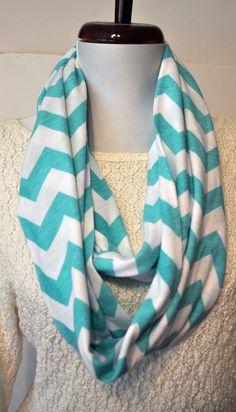 Tiffany Blue Chevron Infinity Scarf in Soft Jersey Knit Monogram Bridesmaid Gift Scarves. $20.00, via Etsy.