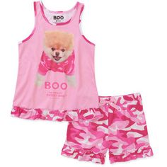 Boo The World's Cutest Dog Girls' 2 Piece Tank and Pajama Set