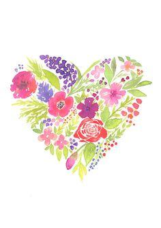 Flower Heart Illustration 8.5/11 Art Print Fashion by KomaArt