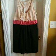 New York & Company BRAND NEW Sleeveless dress Sleeves cream color with salmon thick waist sash with black pleated dress New York & Company Dresses