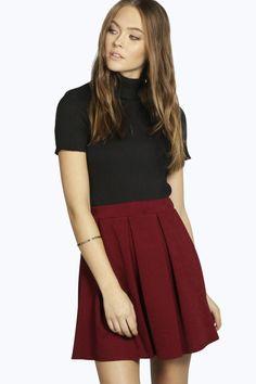 Avah Crepe Box Pleat Skater Skirt at boohoo.com