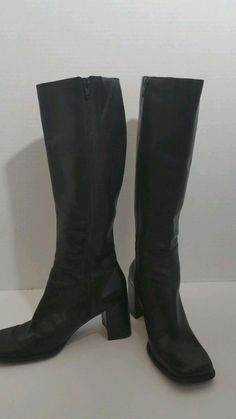 Womens Croft & Barrow Sissy Black Leather Fashion Knee High Boots Size 7.5M #CROFTBARROW #FashionKneeHigh