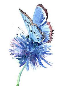 Butterflies Art Painting - Blue Butterfly And Blue Flower by Suren Nersisyan