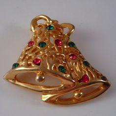 Red Green Rhinestone Christmas Bell  pin Brooch by Vintageday