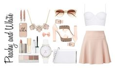 """Peachy and White"" by thewintergirl ❤ liked on Polyvore featuring Witchery, Topshop, COSTUME NATIONAL, Alexander McQueen, Vince Camuto, Kate Spade, Ilia, Dolce&Gabbana, Clinique and dELiA*s"
