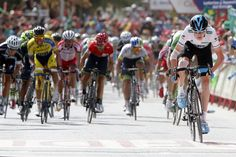 Vuelta a España 2014 - Stage 7: Alhendín - Alcaudete 169km - Chris Froome (Team Sky) jumped out of the small field and crosses the line a few seconds ahead of his GC rivals
