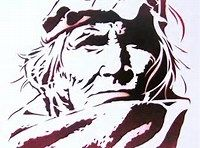 Native American Indian Warrior, Si Wa Wata Wa, Zuni Tribe Hand cut stencil and spray paint, first spray You will see this again with lots of additions. Native American Images, Native American Indians, Native Americans, Native Drawings, Feather Stencil, Wooden Spoon Crafts, Navajo Art, Black White Art, Scroll Saw Patterns