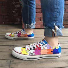 7abe891e422 Low Top Converse Design Puzzle Hand Painted Canvas Sneakers Men Women Shoes