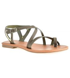 6e29ca7650b0 Women s Open Toe Strappy Ankle Strap Gold Plated Detail Summer Flat Sandals  - Olive - CO182IUQ4KH