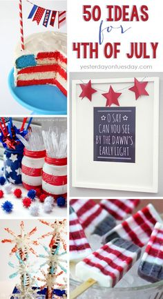 Fourth of July Crafts, DIYs and Recipes, great for Memorial Day too! Tons of red, white and blue ideas.