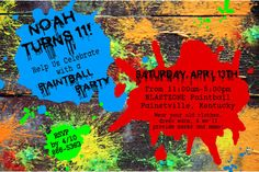 PAINTBALL Birthday Party Invitation-blue, red, green by BluegrassWhimsy, $15.00