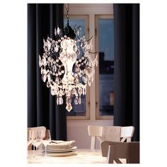 IKEA - ÖRTOFTA, Chandelier, Projects decorative patterns onto the ceiling and on the wall. The height is easy to adjust by using the S-hook or cutting the chain. Ikea Chandelier, Chandelier Ceiling Lights, Chandeliers, Lustre Ikea, Couch Magazin, Interior Paint, Interior Design, Ikea Ps, Paint Shades
