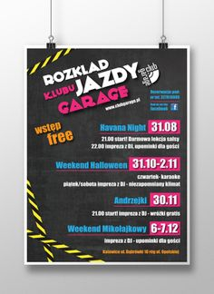 Promotional poster series for Garage Club - Katowice by kamila figura, via Behance
