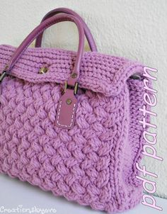 Stylish small textured handknit bag  PDF pattern by creationsbyeve, $5.00