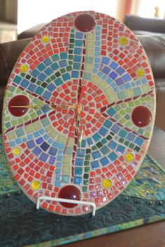 Mosaic Oval Quartz Wall Clock, Handmade, 8 1/2 x 12 inches, Glass Tiles and Gems in Blues, Reds, Greens, Yellows