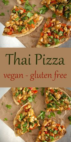 Thai Pizza - This vegan gluten free pizza has the flavors of Thai spring rolls on a crispy pizza crust. Thai Pizza - This vegan gluten free pizza has the flavors of Thai spring rolls on a crispy pizza crust. Dairy Free Recipes, Raw Food Recipes, Cooking Recipes, Healthy Recipes, Dinner Recipes, Vegetarian Recipes Lactose Free, Thai Recipes, Lunch Recipes, Healthy Foods