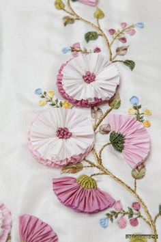 Silk Ribbon Embroidery Flowers Tutorial before Silk Embroidery Monogram through Embroidery Stitches Chart, Ribbon Embroidery On Tulle Ribbon Embroidery Tutorial, Silk Ribbon Embroidery, Hand Embroidery, Embroidery Bracelets, Embroidery Monogram, Ribbon Art, Ribbon Crafts, Ribbon Flower, Embroidery Needles