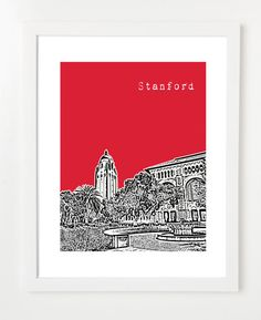 Stanford University - Stanford Cardinals - California City Skyline Poster - Hoover Tower View-. $20.00, via Etsy.
