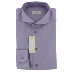 Eton - Eton Shirt - Striped with Extreme Cutaway Collar in Purple - Contemporary Fit - Single Cuff