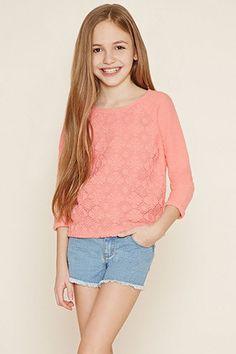 Girls Floral Crochet Top (Kids)
