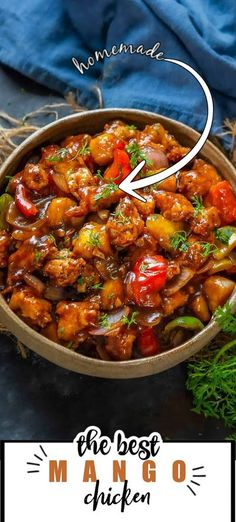 This Sweet and Spicy Mango Chicken is a very popular dish when it comes to Asian cuisine. It is a delicious combination of fried Chicken, ripe Mangoes, Onions, and Bell Pepper. Here is how to make it. Indian Food Recipes, Asian Recipes, Ethnic Recipes, Mango Chicken, Fried Chicken, Healthy Chicken, Sweet And Spicy, Middle Eastern Recipes, Bell Pepper