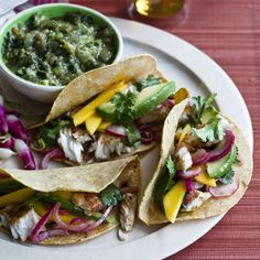 Fish tacos with mango and radish, yes please!