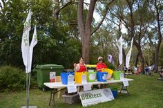 Waste busters sort the recycling and compost from the rubbish at the Australian National Botanic Gardens summer concerts. Thanks Waste Busters!
