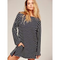 Come On Over Striped Tunic ($100) ❤ liked on Polyvore featuring tops, tunics, boatneck top, striped boatneck top, stripe tunic, striped long sleeve top and bateau neckline tops